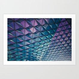 Blue Purple Geometric Pattern Art Print