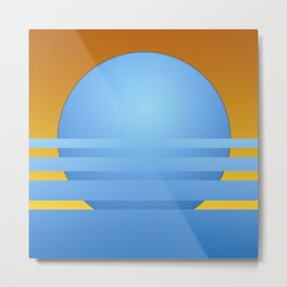 Stylized illustration of sunset in blue and yellow Metal Print