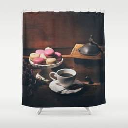 Vintage still life with coffee items Shower Curtain