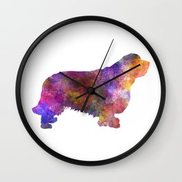 Clumber Spaniel in watercolor Wall Clock