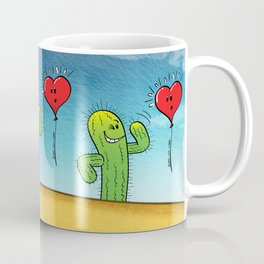 Spiky Cactus Flirting with a Heart Balloon Coffee Mug