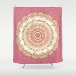 Delicate Gold Rose Mandala on Rose Pink Shower Curtain