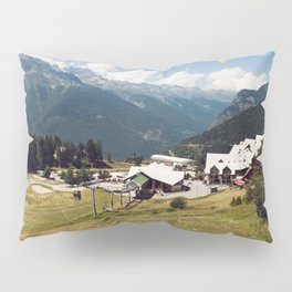 A Skilift Among French Alpine Mountains Pillow Sham