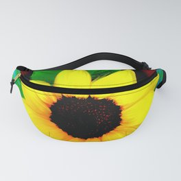 Sunflower Ilustration Yelow Green Blue Brown Summer Fanny Pack