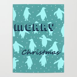 Merry Christmas from the penguins I Poster