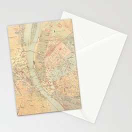 Vintage Map of Budapest Hungary (1884) Stationery Cards