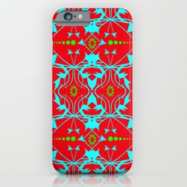 Ornament in red, turquoise and light green iPhone Case
