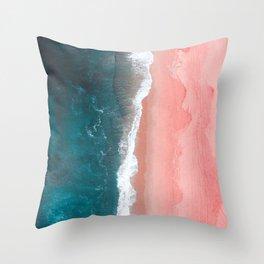 Turquoise Sea Pastel Beach Throw Pillow