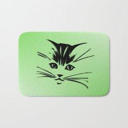 Green Cat Face Bath Mat