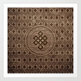 Endless Knot Decorative on Wooden Surface Art Print