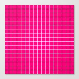 Winter Sky - fuchsia color - White Lines Grid Pattern Canvas Print