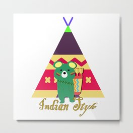 bear indian Metal Print