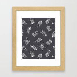 Cosmic Stranger Pattern in Grey Framed Art Print