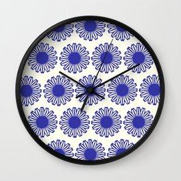 vintage flowers blue  Wall Clock