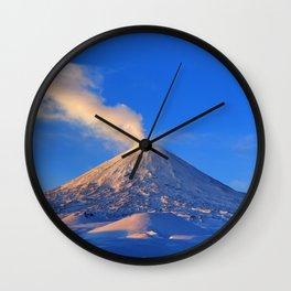 Active Klyuchevskoy Volcano at sunrise. Kamchatka Peninsula Wall Clock