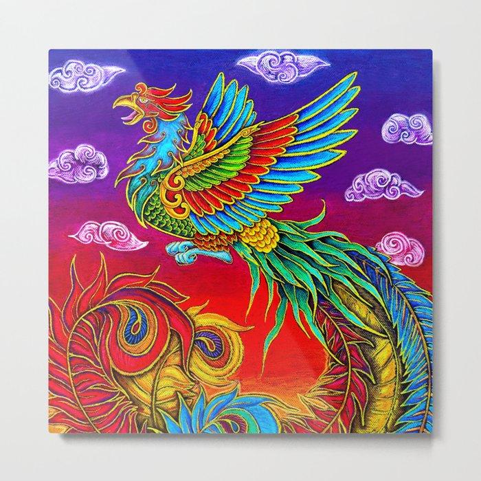 Colorful Fenghuang Chinese Phoenix Rainbow Bird Metal Print