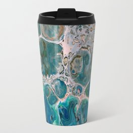 Blue Unique Fluid Pour Acrylic Painting Travel Mug