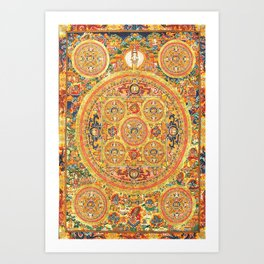 Buddhist Mandala 44 Five Circles Art Print