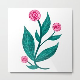 Papercut red roses on white background Metal Print