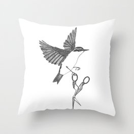 nuthatch absconds with your embroidery scissors Throw Pillow
