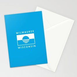 Milwaukee Wisconsin - Cyan - People's Flag of Milwaukee Stationery Cards