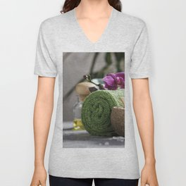 Spa Concept. Beautiful Spa Products on concrete background Unisex V-Neck