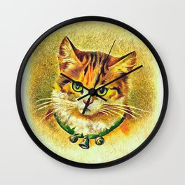 Vintage Cat Art Picture Wall Clock