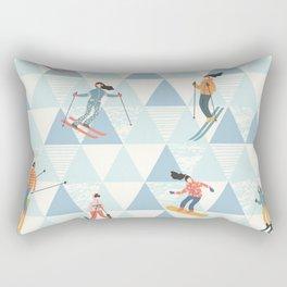 Ski skiing winter snow mountain pattern Rectangular Pillow