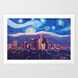 Starry Night in Los Angeles - Van Gogh Inspirations with Skyline and Mountains Art Print