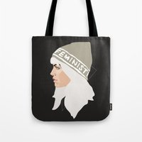 feminist Tote Bags featuring Feminist (Silver) by Anna McKay