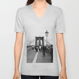 Walking the Brooklyn Bridge from Manhattan, New York Unisex V-Neck