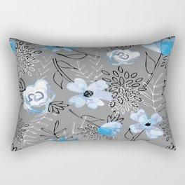 Blue Watercolor Floral Rectangular Pillow