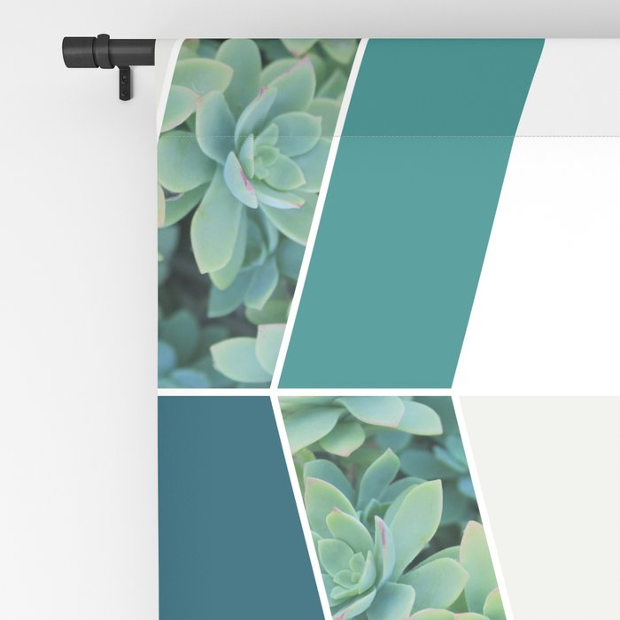 Teal Herringbone #society6 #teal #succulent Blackout Curtain