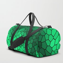 Stained glass texture of snake green leather with bright heat spots. Duffle Bag