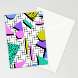 80s Retro Geometric Pattern 2 Stationery Cards