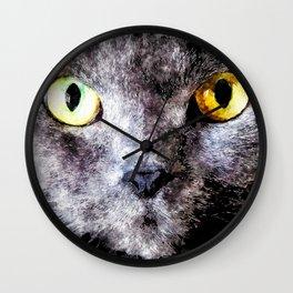 Black cat - Animal Watercolor Illustration Wall Clock