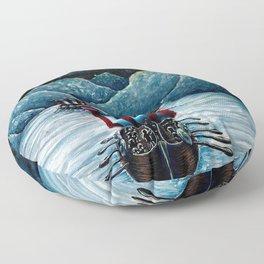 Drakkar in Norse Fjord Ft. Aurora Borealis Floor Pillow