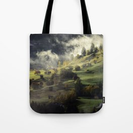 Mountain Village Swept in Fog Tote Bag