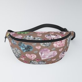 Heart Diamonds are Forever Love Brown Fanny Pack