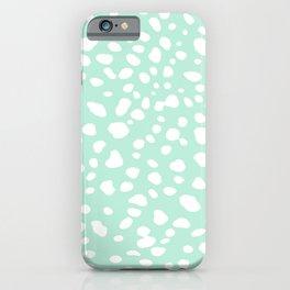 Mint Green Pebbles Pastel iPhone Case