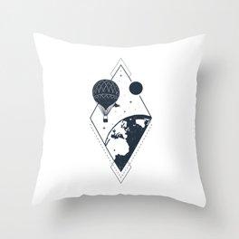 Sky. Earth. Air Balloon Throw Pillow