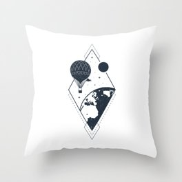 Sky. Earth. Air Balloon Throw Pillow