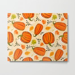 Pumpkins pattern I Metal Print
