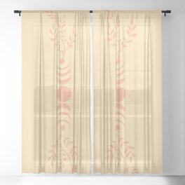 Moon phases in garden Sheer Curtain