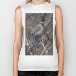 Female Northern Cardinal Biker Tank