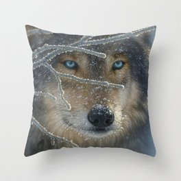 Wolf Portrait - Fire in Ice Throw Pillow
