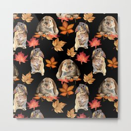 Rabbits and autumn leaves Metal Print