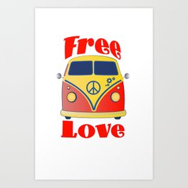 Free Love , festival fantasy with Woodstock in mind Art Print