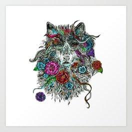 Floral Wolf. Art Print