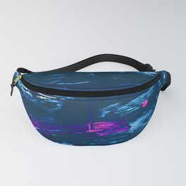 Curiosity: a vibrant minimal abstract mixed-media piece in blue and pink by Alyssa Hamilton Art Fanny Pack